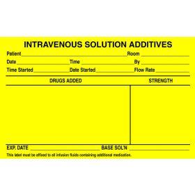 """IV Label - Intravenous Solution Additives - 2-1/2"""" x 4"""" L-8551"""
