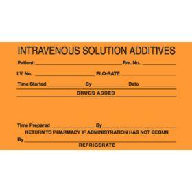"""IV Label - Intravenous Solution Additives - 2-1/2"""" x 4"""" L-8552"""