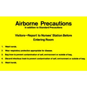 "Sign - Isolation Precaution - Airborne - Laminated - 8"" x 5"""