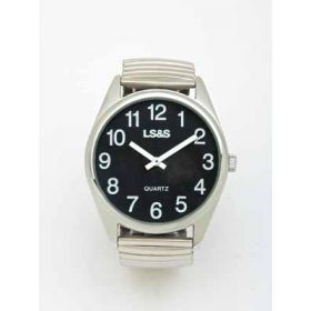 Jumbo Low Vision Watch Black face silver case expansion band