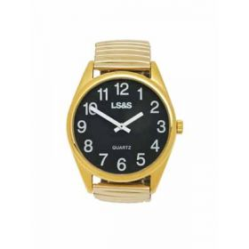 Jumbo Low Vision Watch Black face gold color expansion band