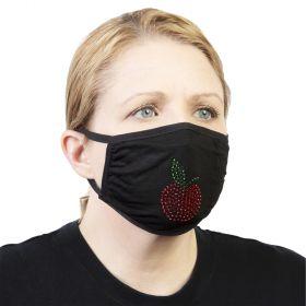 Celeste Stein Ear Loop Mask Black with Bling-Red Apple
