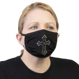 Celeste Stein Ear Loop Mask Black with Bling-Silver Cross