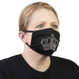 Celeste Stein Ear Loop Mask Black with Bling-Silver Crown