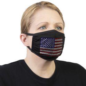 Celeste Stein Ear Loop Mask Black with Bling-Red White Blue Usa Flag