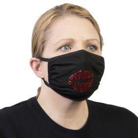 Celeste Stein Ear Loop Mask Black with Bling-Red Lips