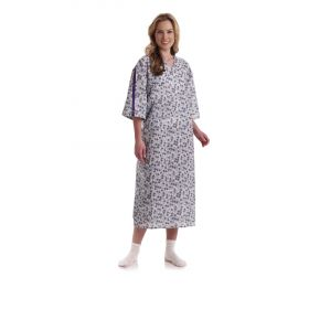 Patient IV Gown with Side Ties, Royale Print, Two-Tone Blue