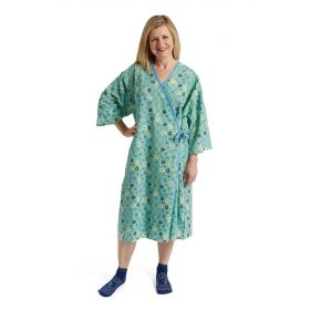 PerforMAX Front-Opening Mammography Gown, Green Flower Print, One Size Fits Most