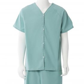 Short-Sleeve Pajama Shirt with Plastic Snaps, Sea Spray, Size S / M