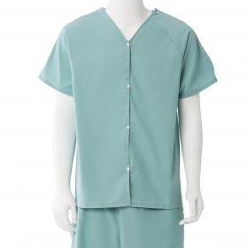 Short-Sleeve Pajama Shirt with Plastic Snaps, Sea Spray, Size L / XL