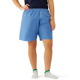 Blue Multilayer Disposable Exam Shorts with Elastic Waist, Size L