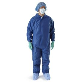 Multilayer Coveralls with Elastic Wrists and Ankles, Blue, Size XL