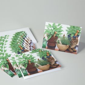 Herbal Kitten Mortar and Pestle Note Cards