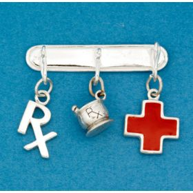Pharmacy Charm Pin with Three Charms