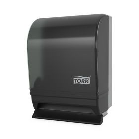 """Tork 87T Hand Towel Roll Dispenser with Push Bar, Auto Transfer, Plastic Door with Steel Back, Smoke / Gray, 15.75"""" H x 10.5"""" W x 8.75"""" D, for Tork RB800, RK1000"""
