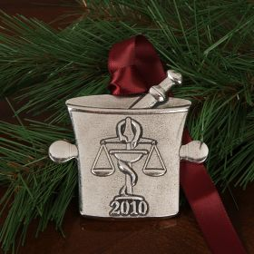 Pewter Mortar and Pestle Ornament - 2010