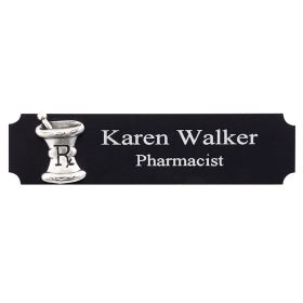 Black and Silver Namebadge with Mortar and Pestle Logo