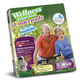 """Unique Wellness 8130 Absorbent Underpads-30""""x36""""-8/Pack"""