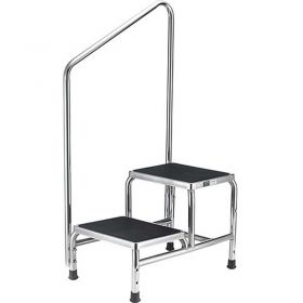 Global Industrial Chrome Two-Step Foot Stool With Handrail