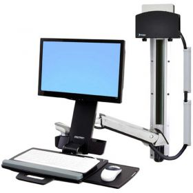 Ergotron StyleView Sit-Stand Combo System with Small CPU Holder, Polished Aluminum