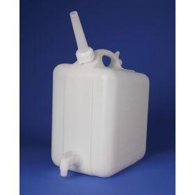 "Bel-Art HDPE Jerrican with Spigot 11859-0025, 10 Liters, Screw Cap, 3/4"" I.D. Spout, White, 1/PK"