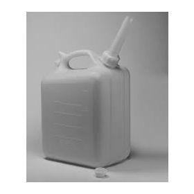 "Bel-Art HDPE Jerrican 10936-0000, 10 Liters (2.5 Gallons), Screw Cap, 3/4"" I.D. Spout, White, 1/PK"