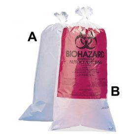 "Bel-Art Clear Biohazard Disposal Bags,Non-Printed,1-3 Gallon,1.5 mil Thick,12""W x 24""H,100/PK"