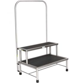 Blickman 7763MR-HR Donnelly Two-Step Foot Stool With Handrail, Stainless Steel, MR Conditional