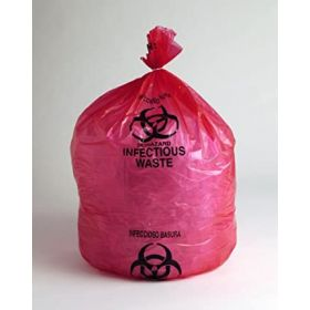 """High Density Red Infectious Waste Liner,17 Microns,31"""" x 43"""",Pkg Qty 250"""