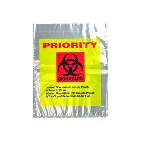"Reclosable 3-Wall Specimen Transfer Bag (Biohazard),12"" x 15"",Yellow Tint/Priority,Pkg Qty 1000"