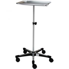 """Blickman 1501 Chrome Instrument Stand with 5-Leg Cast Aluminum Base, 12-5/8"""" x 19-1/8"""" Tray"""