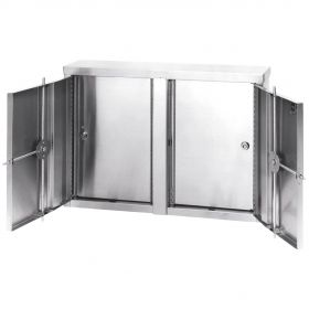 """Omnimed Stainless Twin Narcotic Cabinet, Double Door, 8 Adjustable Shelves, 32""""W x 8""""D x 24""""H"""