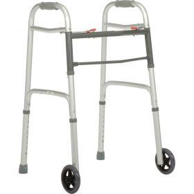 "Global Industrial  Portable Folding Walker with 5"" Wheels, Silver"