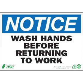 SIGN, NOTICE WASH HANDS, 7X10, PLASTIC